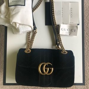 Authentic Gucci marmont velvet black mini bag